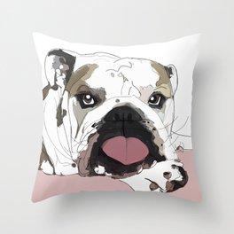 English Bulldog heart shaped tongue Throw Pillow