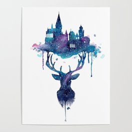Always - Magical Deer in a Wizard World in watercolor Poster