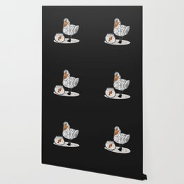 Pelican & Goldfish Bowl, Funny Animal Illustration, Black and White Cute Bird & Fish Graphic Design Wallpaper