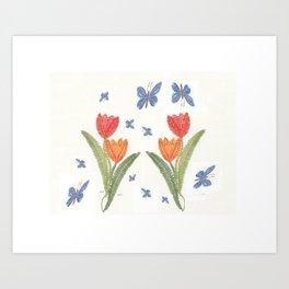 Tulipes et papillons en dentelle Art Print