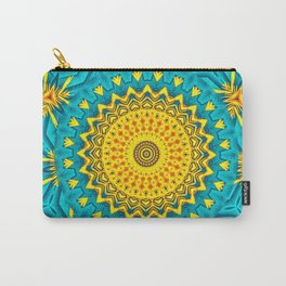 Birds of Paradise Circular Geometric Blended Floral Pattern \\ Yellow Green Blue Teal Color Scheme Carry-All Pouch