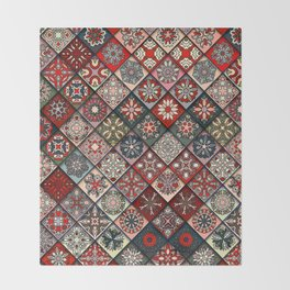 (N19) Colored Floral Moroccan Traditional Bohemian Artwork Throw Blanket