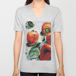 Watercolor Persimmons With Leaves Unisex V-Neck