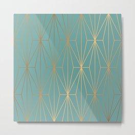 ELEGANT BLUE GOLD PATTERN Metal Print
