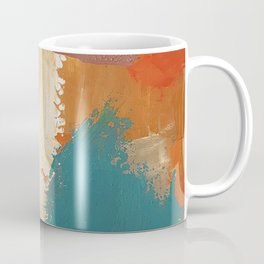 Rustic Orange Teal Abstract Coffee Mug