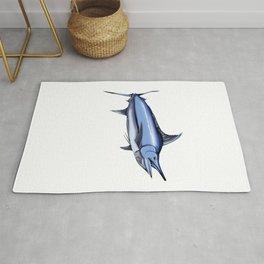 Lucky Blue Marlin Fishing Shirt Rug