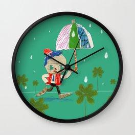 rain and clown umbrella Wall Clock