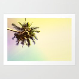 Coco Palm Tree in Yellow Tropical Sunset Art Print