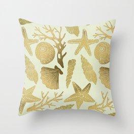 Gold Seashells Throw Pillow