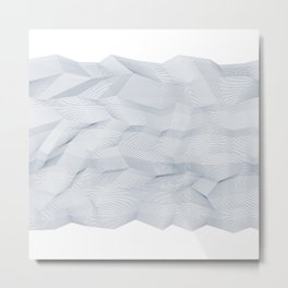 Facets - White and dark blue Metal Print