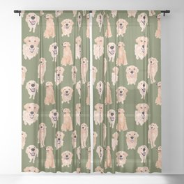 Golden Retriever on Green Sheer Curtain