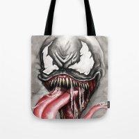 venom Tote Bags featuring venom by rchaem