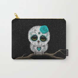 Adorable Teal Blue Day of the Dead Sugar Skull Owl Carry-All Pouch