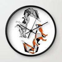 literature Wall Clocks featuring literature fox 2 by vasodelirium