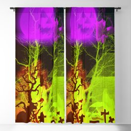 Spooky Halloween Pumpkin and Haunted Barn Blackout Curtain