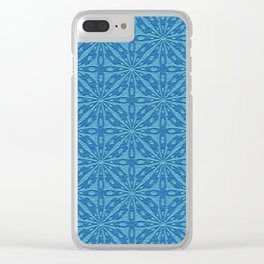 Blue Faux Leather Texture Geometric Pattern Clear iPhone Case