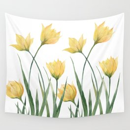 Yellow Woodland Tulips Wall Tapestry