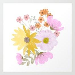 Loose Watercolor Florals Art Print