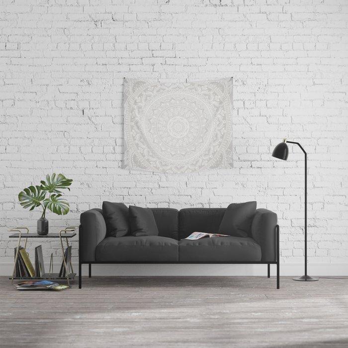 Mandala Soft Gray Wall Tapestry