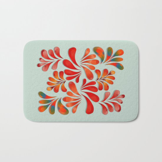 Floral Dance in Red Bath Mat