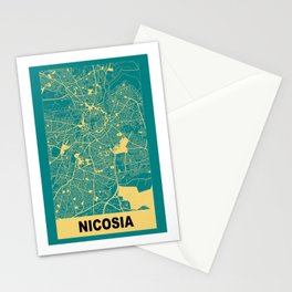 Nicosia, Cyprus, city map, Teal Stationery Cards