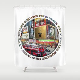 Times Square New York City (badge emblem on white) Shower Curtain