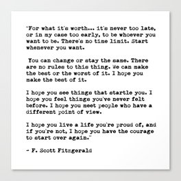 F Scott Fitzgerald quote Canvas Print