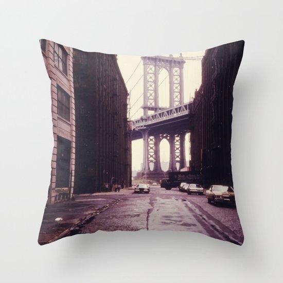 New York City - Manhattan Bridge Tower in Brooklyn Throw Pillow by Kristiana Art Prints Society6