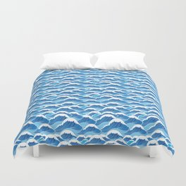 graphic pattern blue sea waves vector illustration Duvet Cover