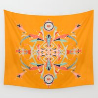 yellow pattern Wall Tapestries featuring Yellow by B. McGee