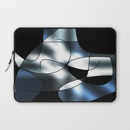 ABSTRACT CURVES #1 (Black, Grays & White) Laptop Sleeve