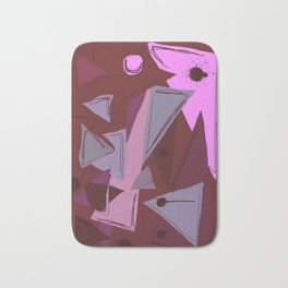 Cages at the Border Burgundy Tones #Abstract #Geometric #PoliticalArt Bath Mat