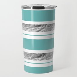 Aqua Blue Stripe with Silver Travel Mug