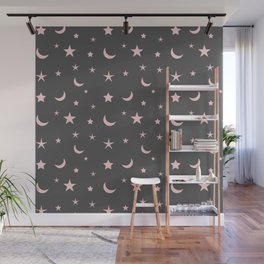 Grey background with pink moon and star pattern Wall Mural