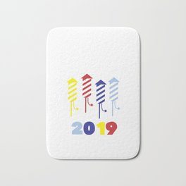 Happy New Year 2019 Fireworks Party Eve Bath Mat