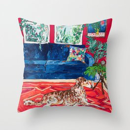 Red Interior with Borzoi Dog and House Plants Painting Throw Pillow