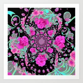 CERISE PINK ROSES & TURQUOISE RIBBONS ON BLACK Art Print