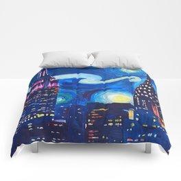 Painting Starry night in new york vincent van gogh Comforters