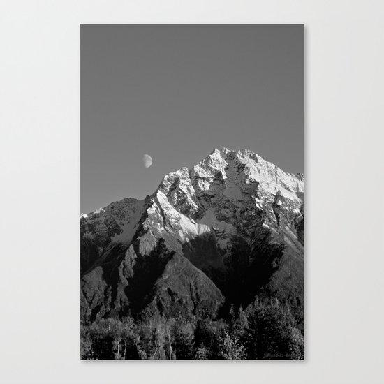 Moon Over Pioneer Peak B&W Canvas Print