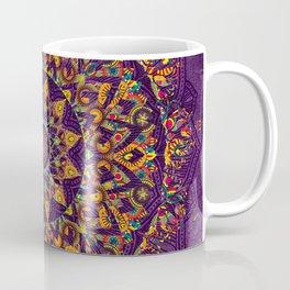 Multi-Coloured Patterned Mandala On A Purple Textured Background Coffee Mug