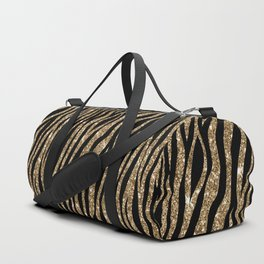 Black & Gold Glitter Animal Print Duffle Bag