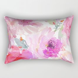 Big Watercolor Flowers in Violet and Pink Rectangular Pillow