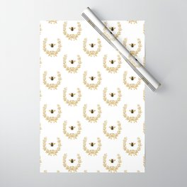 French Bee acorn wreath Wrapping Paper
