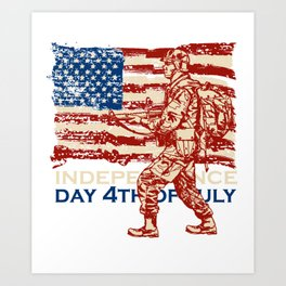 Independence Day 4th July American Soldier Gift Art Print