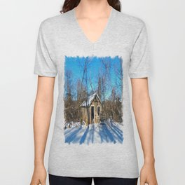 Old House in the Snow Unisex V-Neck