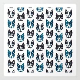 BOSTON TERRIER BLUE Art Print