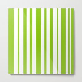 Lime Green and White Stripes Minimalist Color Block Pattern Metal Print