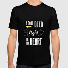 A Good Deed Brings Light to the Heart Mens Fitted Tee MEDIUM Black