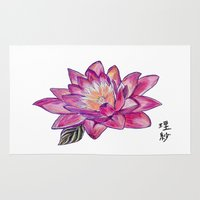lotus flower Area & Throw Rugs featuring Lotus by Art by Risa Oram