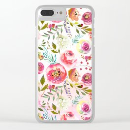blush pink peonies watercolor fuchsia flowers Clear iPhone Case
